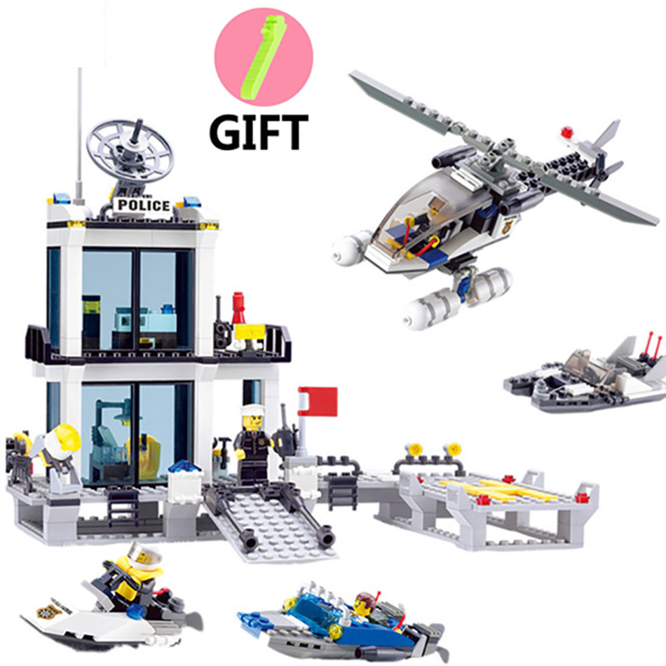536pcs Educational Police Station Building Blocks Helicopter Boat Brick Toys Compatible Legos City Bricks Set Toys For Kids Gift kazi 6726 police station building blocks helicopter boat model bricks toys compatible famous brand brinquedos birthday gift