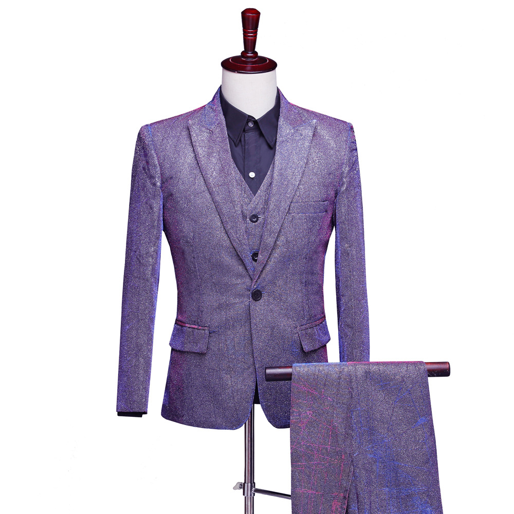 Suits Men 2019 New Dress Mens Casual Shiny Wedding Solid Suit Slim Fit Clothing Discoloration Three Piece Set Coat Pants Vest in Suits from Men 39 s Clothing