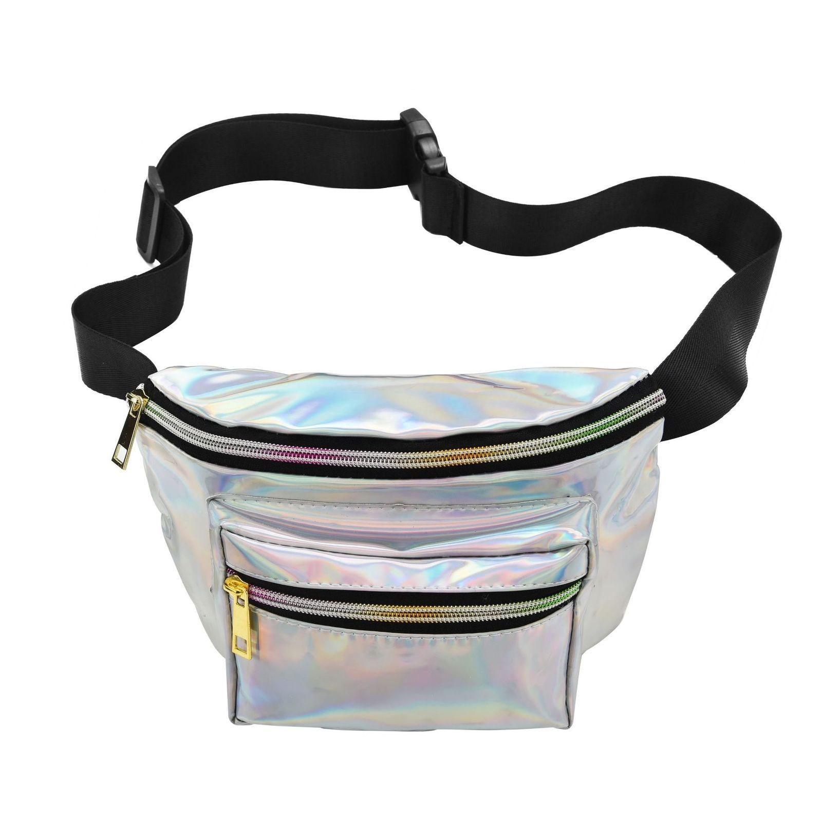 2018 New Holographic Fanny Pack For Women Laser Waist Packs Belt Bag Silver Gold Pink Bum Bag 2018 new punk lady girl rainbow pvc laser transparent fanny pack women bum bag belt bag silver black