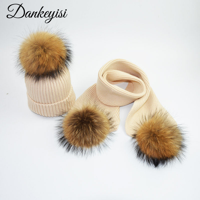 DANKEYISI Kids Winter Warm Thicken Knit Beanie Hats Scarves Solid Color Real Fur Pom Pom Hat Scarf Set For Boys Girls Cap Scarf
