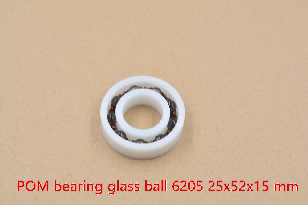 POM plastic 25mmx52mmx15mm nylon bearing 25mm bearing glass ball water proof acid and alkali resistant single seal 6205 1pcs