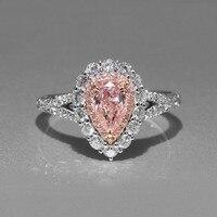 Размеры 5 11 простой Модные украшения стерлингового серебра 925 Груша Cut розовый кубический цирконий CZ вечерние Для женщин обручальное пролож