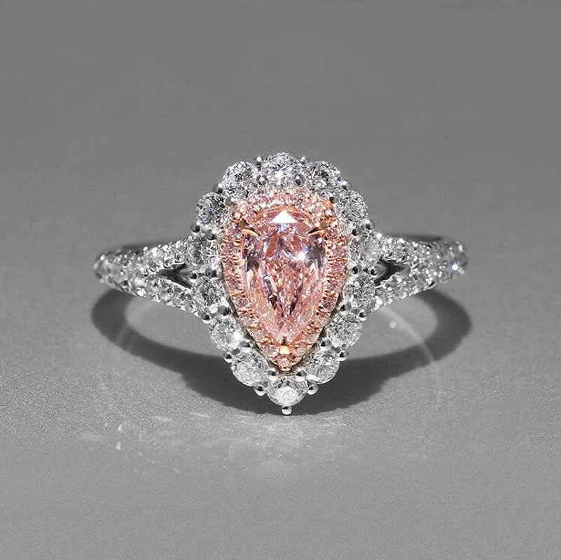 Size 5-11 Simple Fashion Jewelry 925 Sterling Silver Pear Cut Pink Cubic Zirconia CZ Party Women Wedding Band Pave Ring GiftSize 5-11 Simple Fashion Jewelry 925 Sterling Silver Pear Cut Pink Cubic Zirconia CZ Party Women Wedding Band Pave Ring Gift
