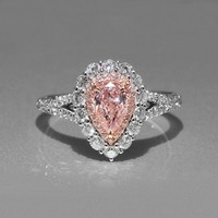 Size 5 11 Simple Fashion Jewelry 925 Sterling Silver Pear Cut Pink Cubic Zirconia CZ Party Women Wedding Band Pave Ring Gift