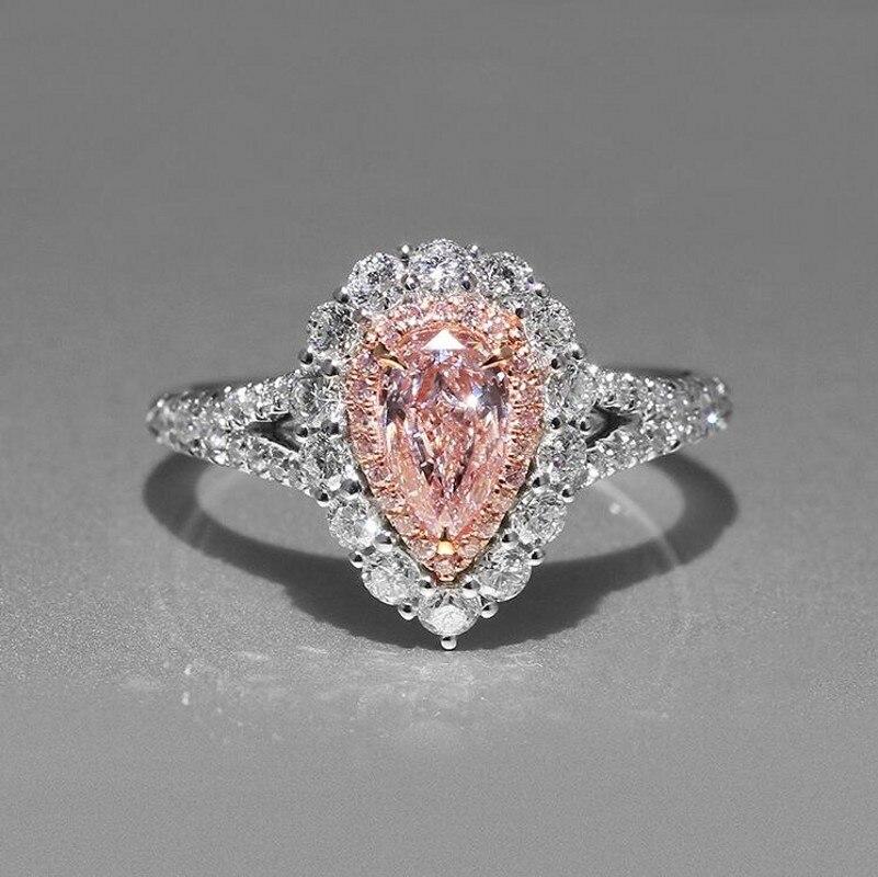 Taille 5-11 Simple mode bijoux 925 en argent Sterling poire coupe rose cubique zircone CZ fête femmes mariage bande Pave anneau cadeau