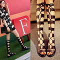 Gladiator Sandals Woman knee high sandalias botas femininas Women Boots Sandal Shoes Woman sexy summer ankle boots Black