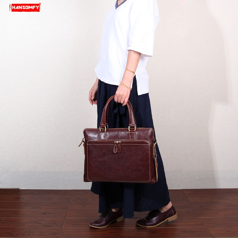 New Genuine Leather Women Handbags Thin Section Female Business 14