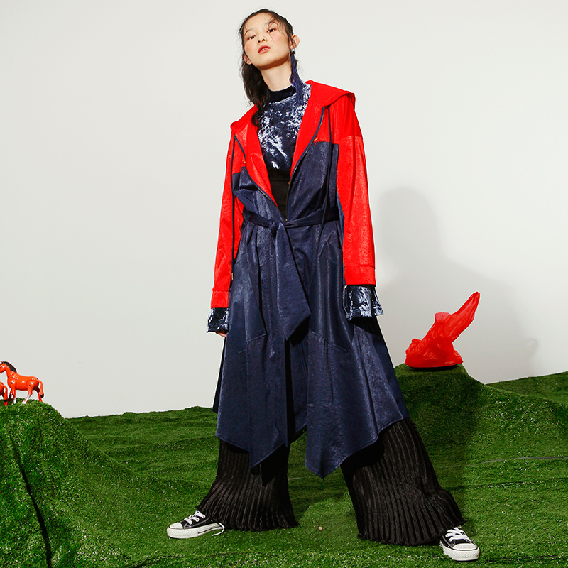 UA001 Autumn 2017 eye embroidered color block satin patchwork asymmetrical Hip Hop oversize hooded long casual trench coat women
