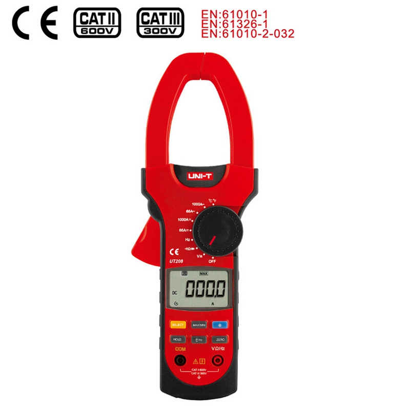 UNI T UT208 1000A True RMS Digital Clamp Meter 6600 Count AC DC Volt Amp multi meter Temperature Frequency Inrush current Tester цена