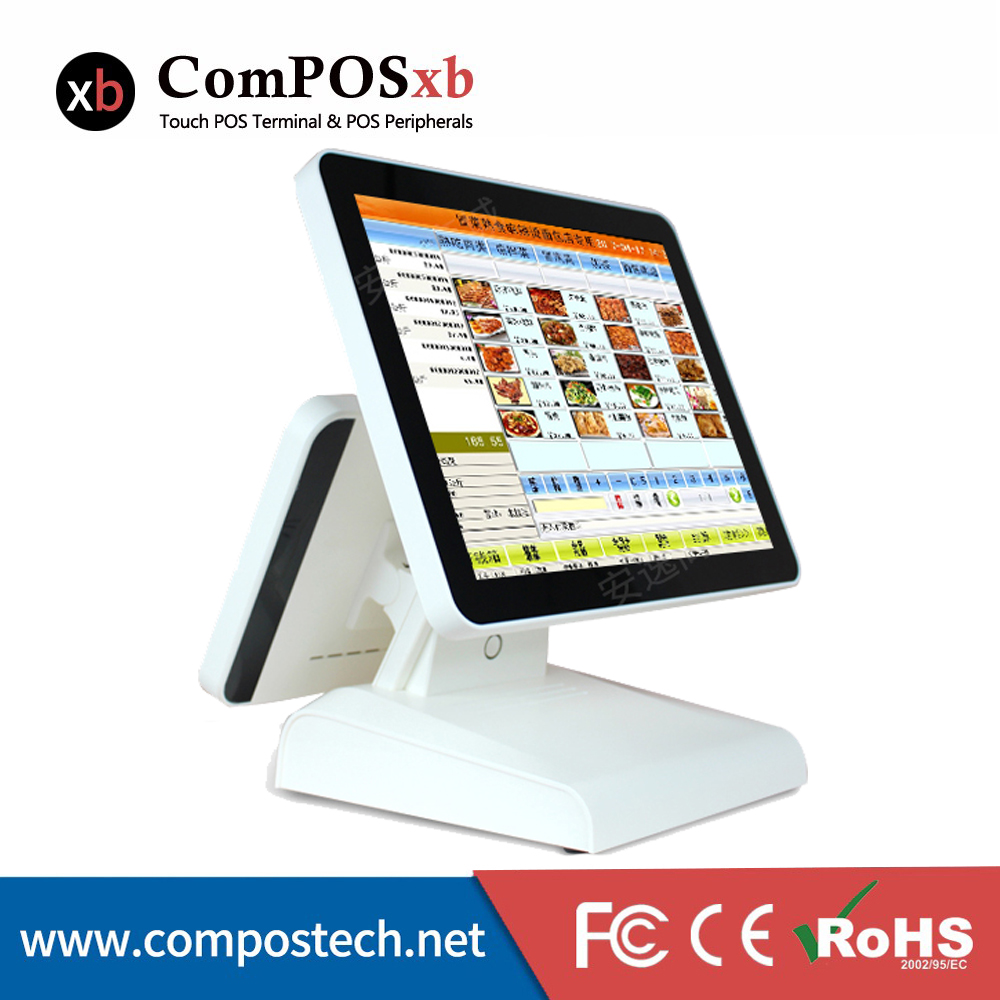 Commercial Equipment Capacitive 15 Inch Touch POS With 12 Customer Display Dual Screen Cashier Register Pos System
