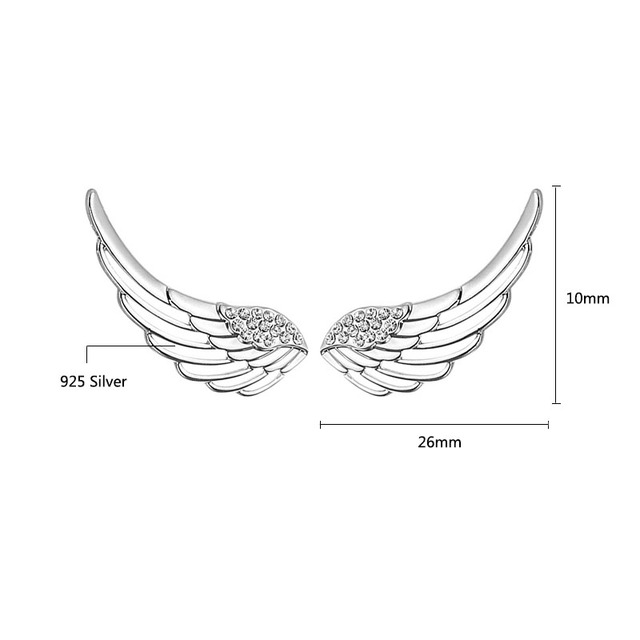 Hollow Wing Silver Stud Earrings For Women