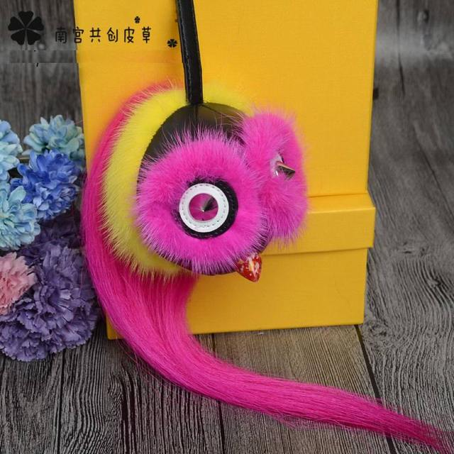 Handmade Monster Real Mink Fur Keychain Bag Bugs Charm Car Pendant Pompom Cute Owl Fluffy Bag Charm Key Ring Big Fox Fur Ball