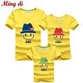 Ming Di Nuevo 2016 Familia camisetas de Verano de Algodón de Calidad Estilo de La Cara sonriente Coincidencia de Padre e Hijo Madre e Hija ropa