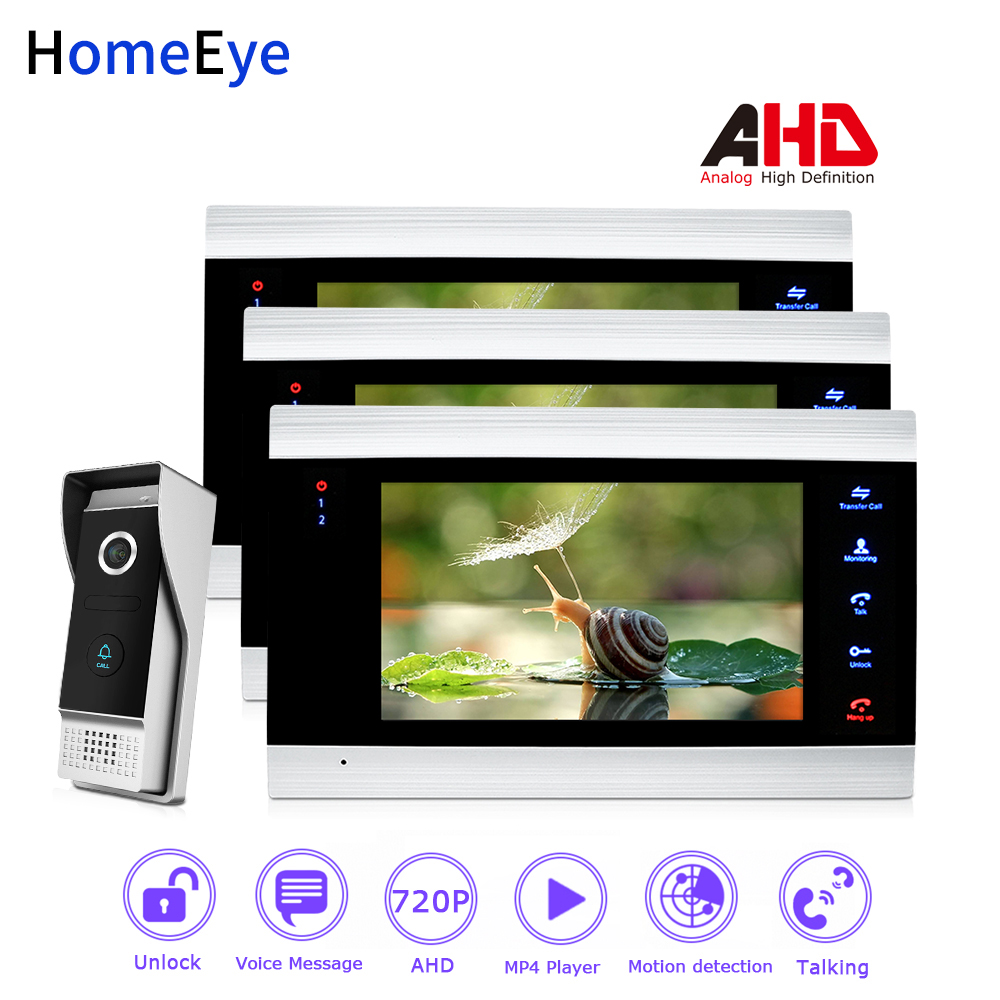 HomeEye 720P AHD Video Door Phone Video Intercom Home Access Control System Motion Detection Customize Ringtone DoorBell Speaker