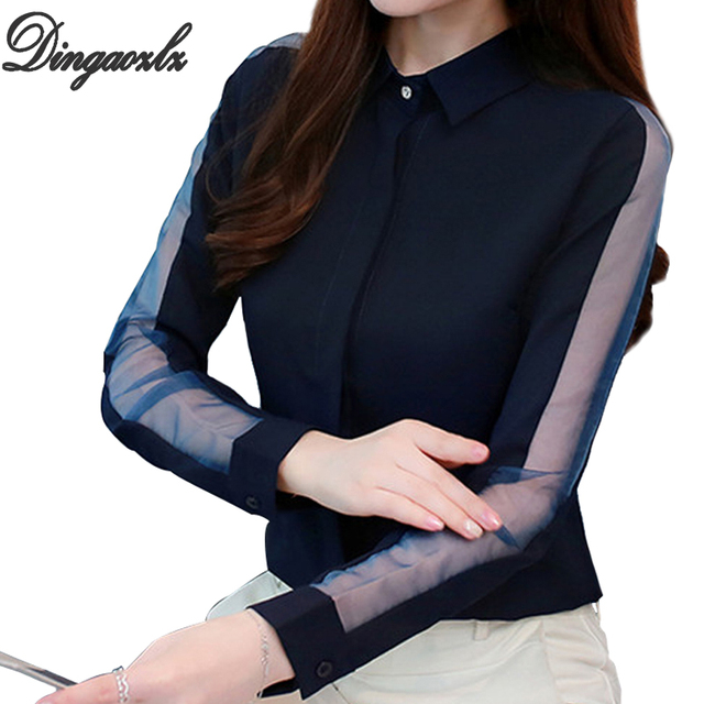 c6552ed1bb90 € 10.05 25% de DESCUENTO Dingaozlz moda costura gasa blusa elegante mujer  manga larga chifón camisa casual mujeres tops en Blusas y camisas de La ...