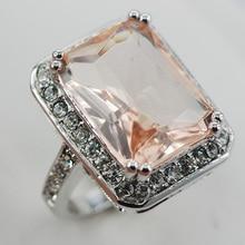 F888 ZirconWomen Morganite Cristal Blanco Anillo de Plata 925 Tamaño 6 7 8 9 10