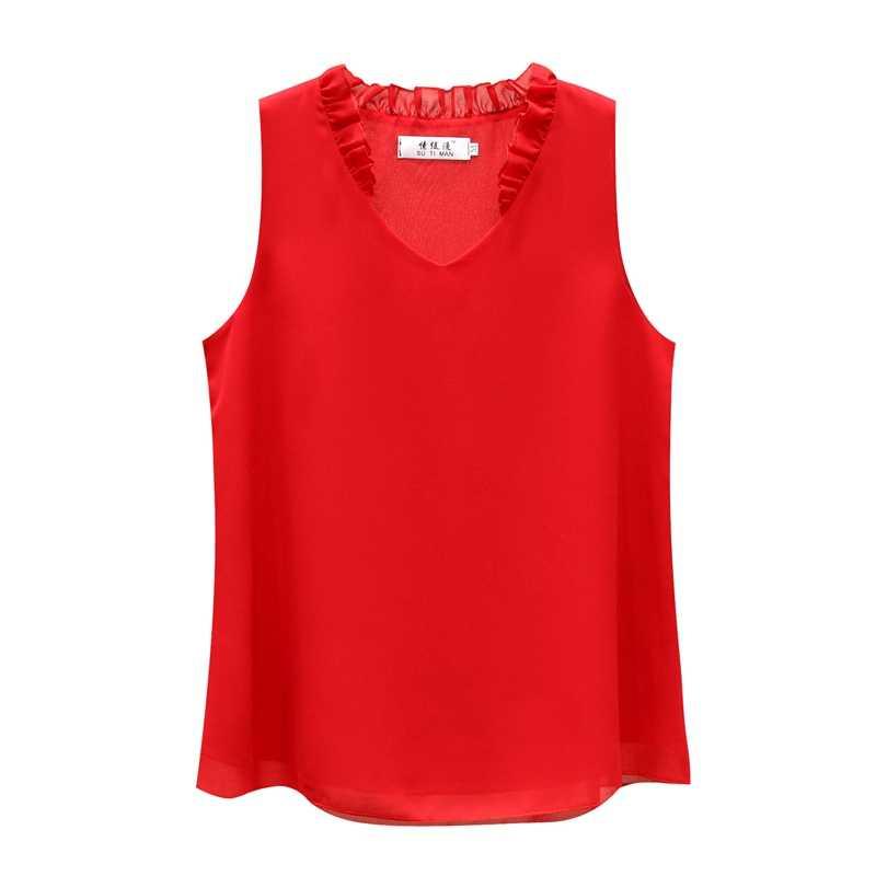 2019 אופנה מותג שרוולים נשים של חולצה קיץ שיפון חולצה Sheer V-צוואר מזדמן חולצה בתוספת גודל 4XL Loose נקבה חולצות