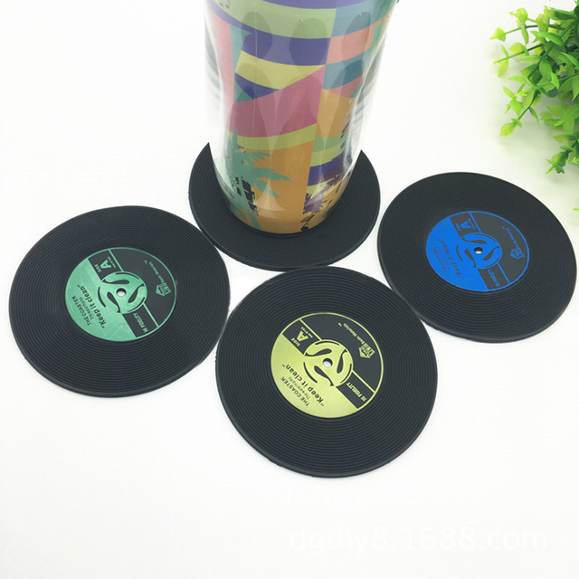 Retro Rubber Glass Coaster Set 4