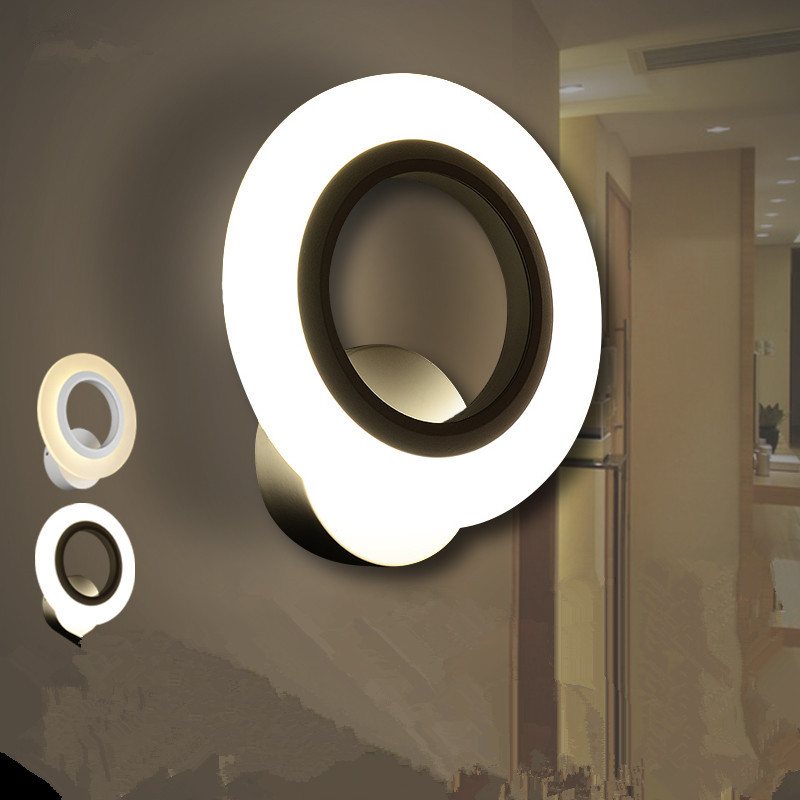 Фотография LED Wall Lamps Acrylic aisle sitting room bedroom circular loops 6w-10w wall lamp of the head of a bed 110v-240v  @-9