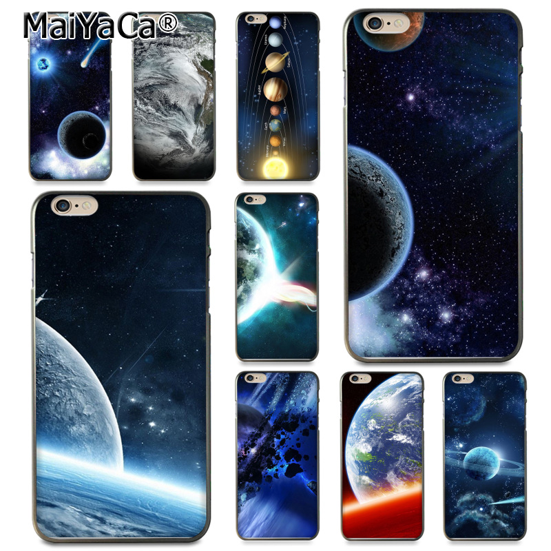 MaiYaCa Glossy Space Planet Stars Solar System Coque Phone Case for Apple iPhone 8 7 6 6S Plus X 5 5S SE 5C Cover