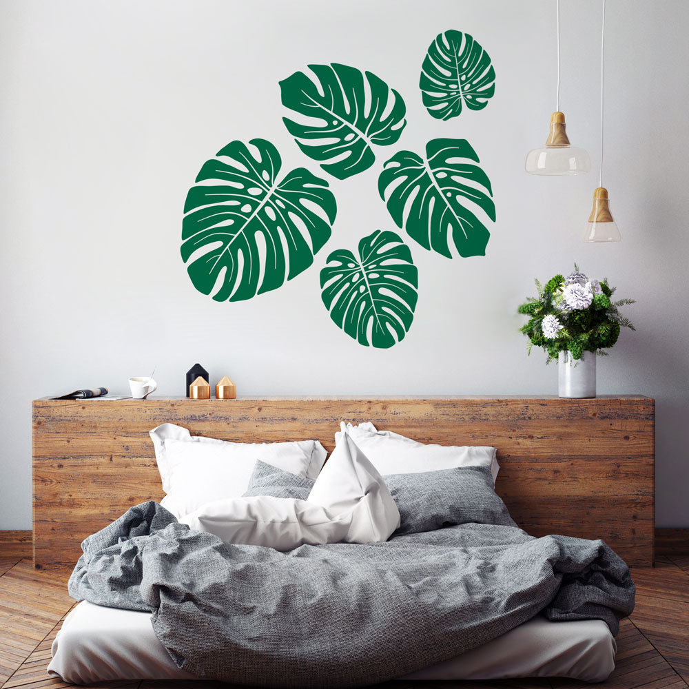 Monstera Wall Decal Tropical Leaves Pattern Vinyl Stickers For Kids Rooms Bedroom Interior Art Mural Plant Home Decorsyy772 In From