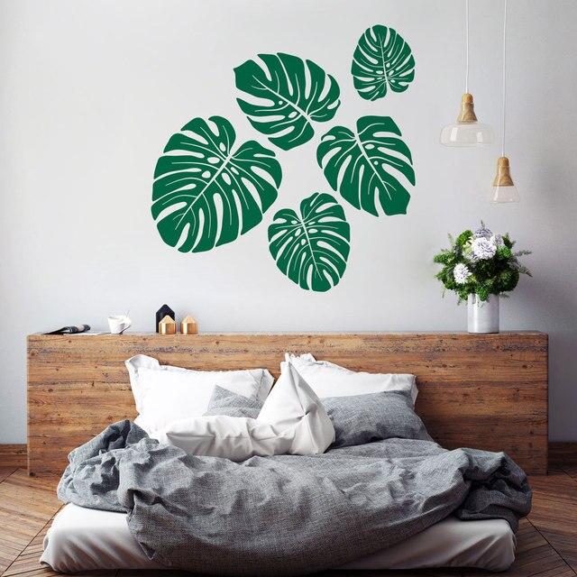 Monstera pared patr n de hojas tropicales vinilo adhesivos for Adhesivos pared dormitorio