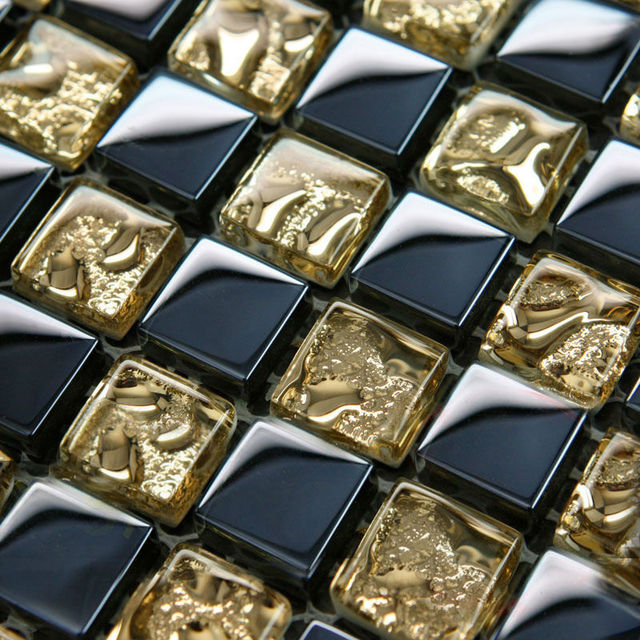 crystal glass mosaico fogli piastrelle oro e blu muro del bagno ... - Blu Piastrelle Del Bagno Mosaico
