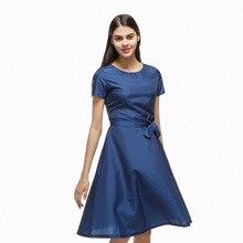 b39a752ea 2018 summer women British fashion a-line o-neck navy blue dresses ladies  girl short sleeve collect waist casual dress shirt