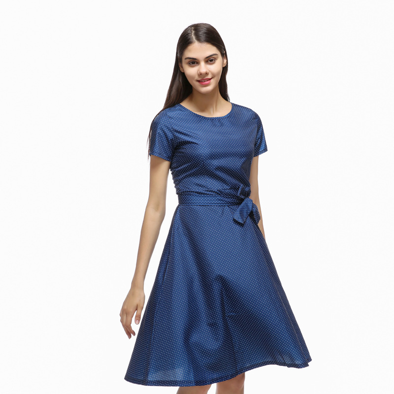c54643938a1 2018 summer women British fashion a-line o-neck navy blue dresses ladies  girl short sleeve collect waist casual dress shirt
