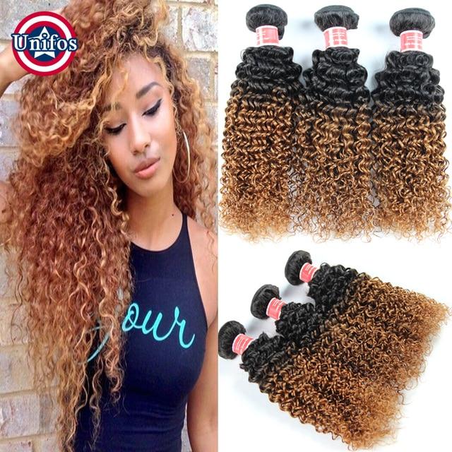 1b 30 Ombre Brazilian Hair 3 Pieces Ombre Brazilian Kinky Curly Hair