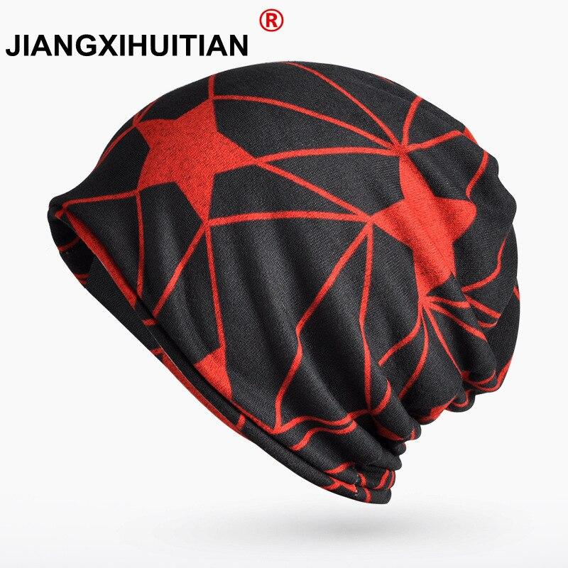 Winter Hat Female Turban Hats For Women Men Star Pattern Windproof Warm Knit Winter Cap Mens   Skullies     Beanies   Scarf/Mask