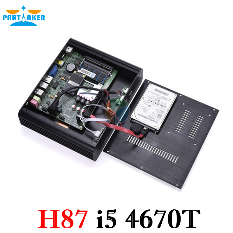 Partaker H87 Fanless Mini PC Intel  I5 4670T VGA HDMI Two Display Gigabit Lan Ports Free Shipping DHL UPS Fedex dhl ems contec vga tpvga pc t e l s sg no 9984a isa pull from ipc pt m100 pc k c3 d9