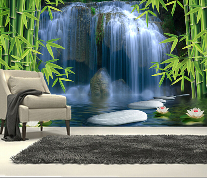 Custom 3D murals,Chinese landscape painting, lotus waterfall bamboo papel de parede,living room sofa TV wall bedroom wallpaper custom 3d wall murals wallpaper luxury silk diamond home decoration wall art mural painting living room bedroom papel de parede
