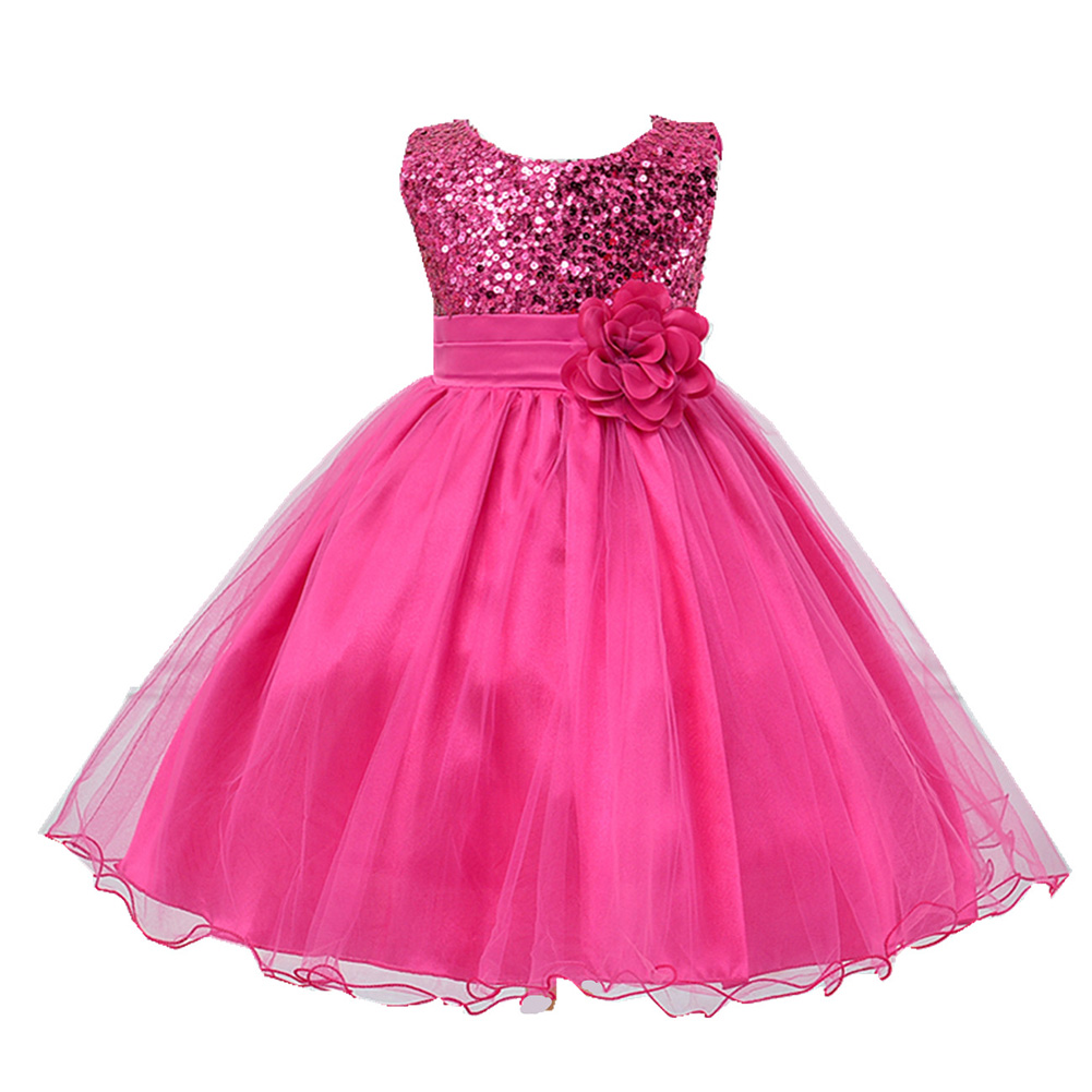 Buy Cheap Baby Girls Party Dress Kids Children Girls Sleeveless Sequins Formal Wedding Dress Flower Princess Dress 4 to 10 Years