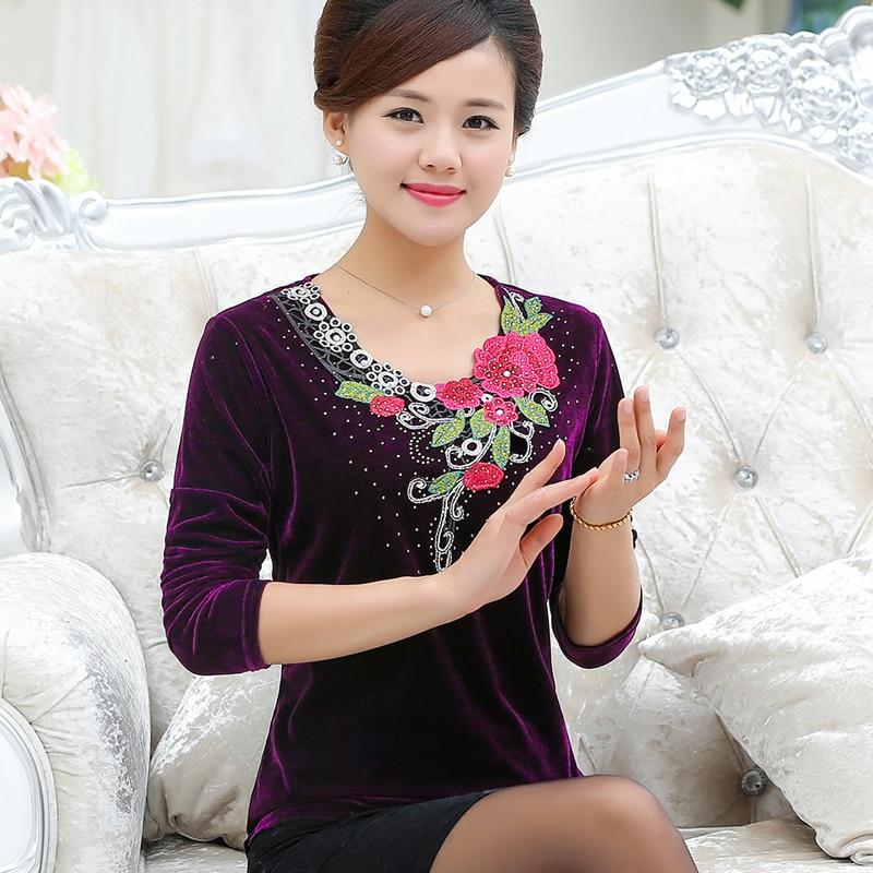 new fashion middle age women autumn spring long-sleeve T-shirt female loose basic O-Neck gold velvet shirt mother clothing  top