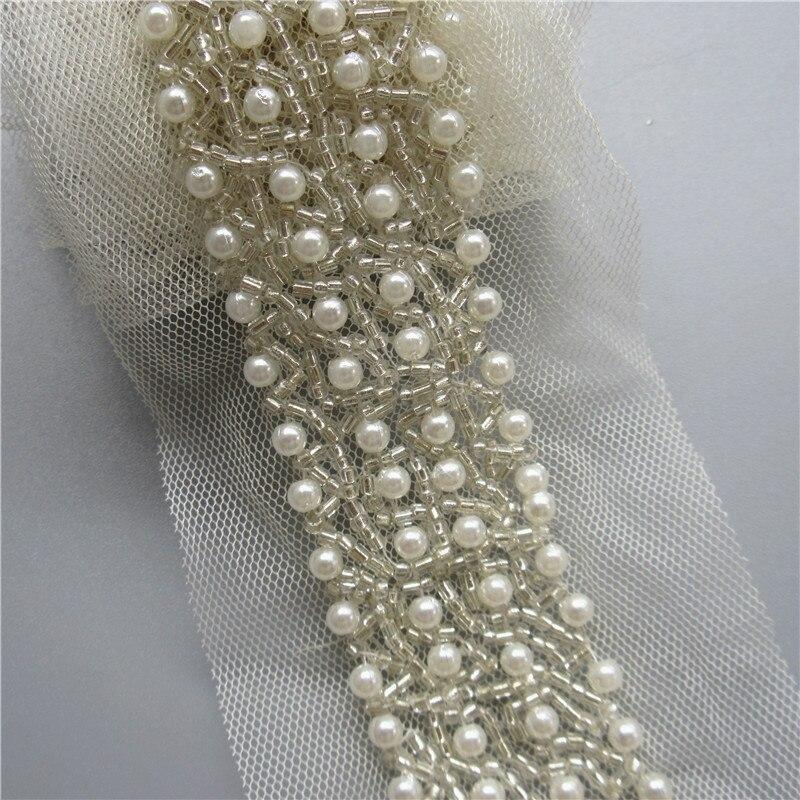 1 Yard Black Rhinestone Beaded Lace Trim Wedding Bridal Sash Ribbon Trim 3cm