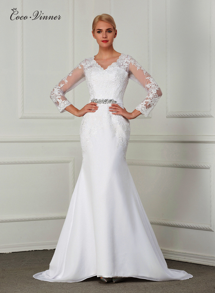 Crystal Sash Casamento Embroidery Court Train Wedding Gowns Long Sleeve Illusion Plus Size Mermaid Wedding Dress W0148