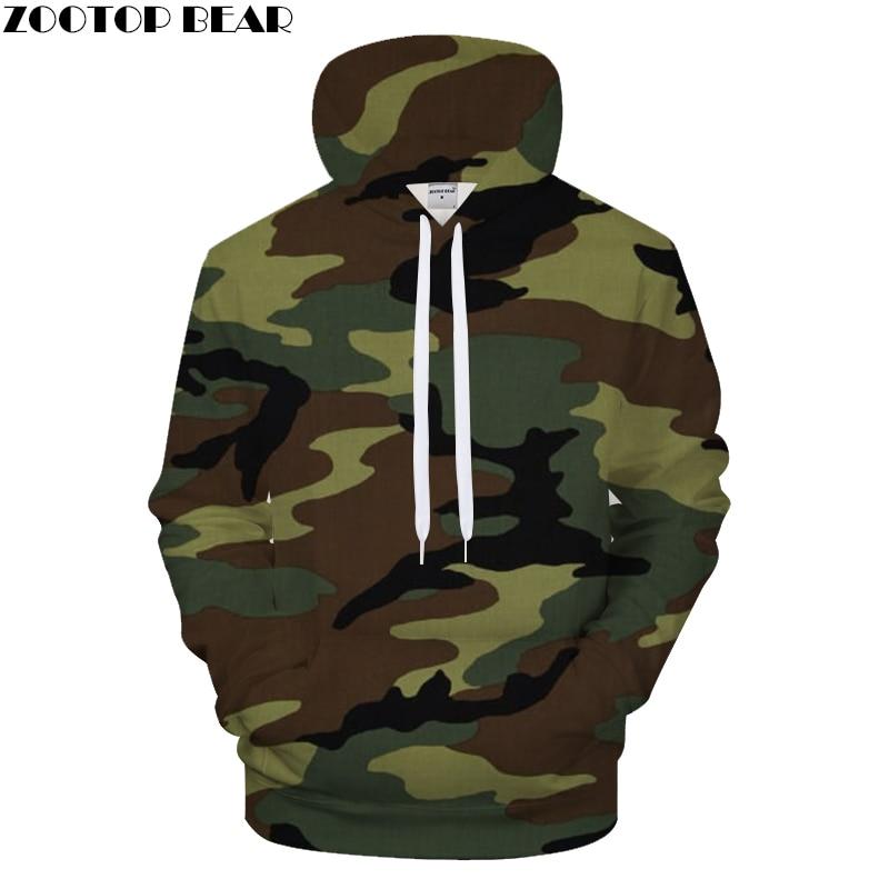 Army green camouflage Men's hoodie 3D Printed Hoodies Streetwear Camo Pullover Brand Hooded Sweatshirts ZOOTOP Bear Drop Ship
