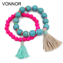 VONNOR Jewelry Women Bracelets Bohemian Accessories Beaded Tassel Pendant Friendship Strand Bracelet Female
