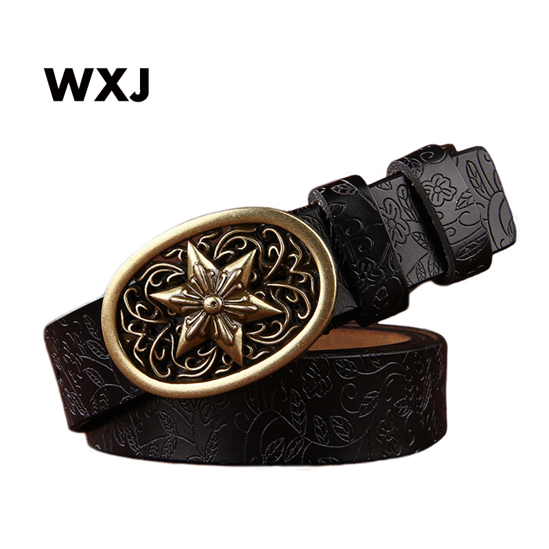 New ceinture femme belt hand real leather woven strap Star Gold buckle casual style luxury female women belts W030(China)