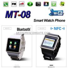 ฟรีDHL 4ชิ้น3กรัมNFC Wifi GPS Dual Coreสมาร์ทนาฬิกาโทรศัพท์อัจฉริยะMOMITIME MT-08 Android 4.2ซิมบลูทูธ3D GSM S Mart W Atch
