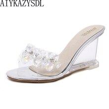 AIYKAZYSDL женские сандалии со стразами шлёпанцы для женщин прозрачный клин Высокие каблуки со стразами прямой валиковый шов Насосы Свадебная Летняя обувь