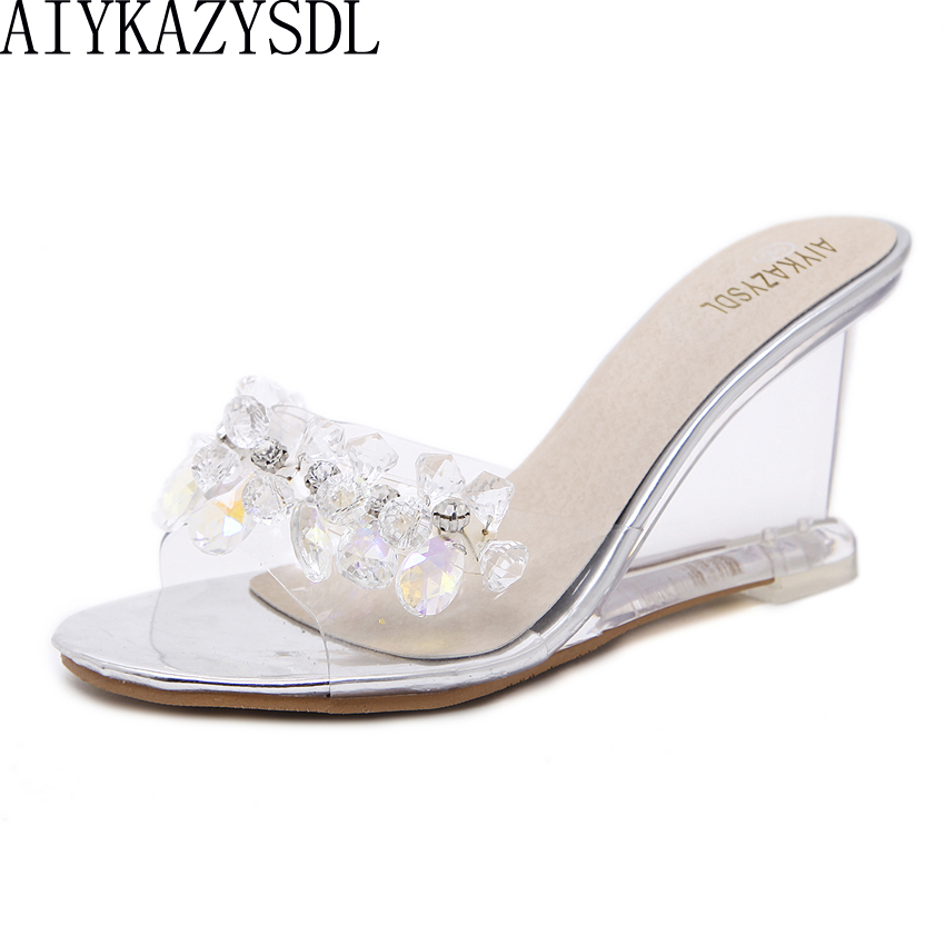 AIYKAZYSDL Women Crystal Sandals Slippers Clear Transparent Wedge High Heels Rhinestone String Bead Pumps Wedding Summer Shoes