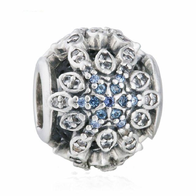 3d98738a0 Blue Crystal CZ Snowflake Charm Beads 925 Sterling Silver Christmas Snowflake  Bead Diy Xmas Fit Pandora