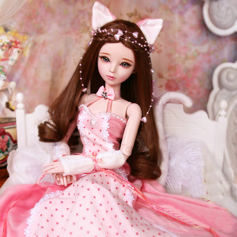 60cm Handmade Bjd Doll 1 3 Princess Cat Dolls 23 Jointed Body Fashion Girl Doll Full