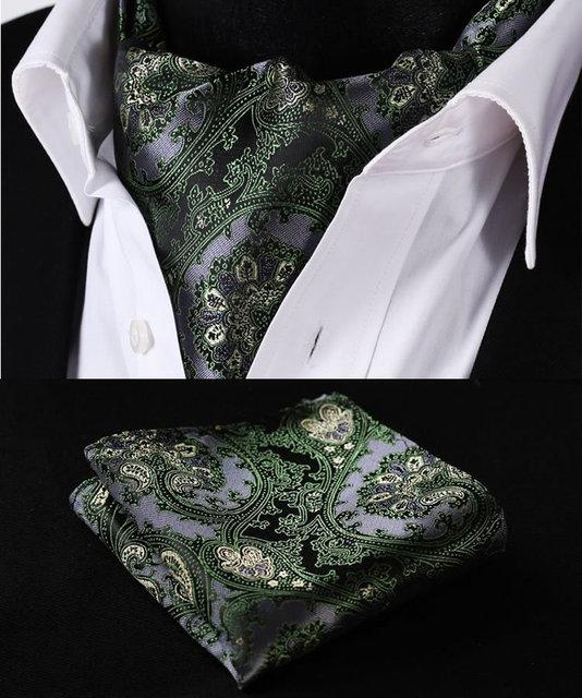 Rf201g verde cinza Paisley Floral tela de seda lenço lenço gravata bolso praça Handkerchief Set