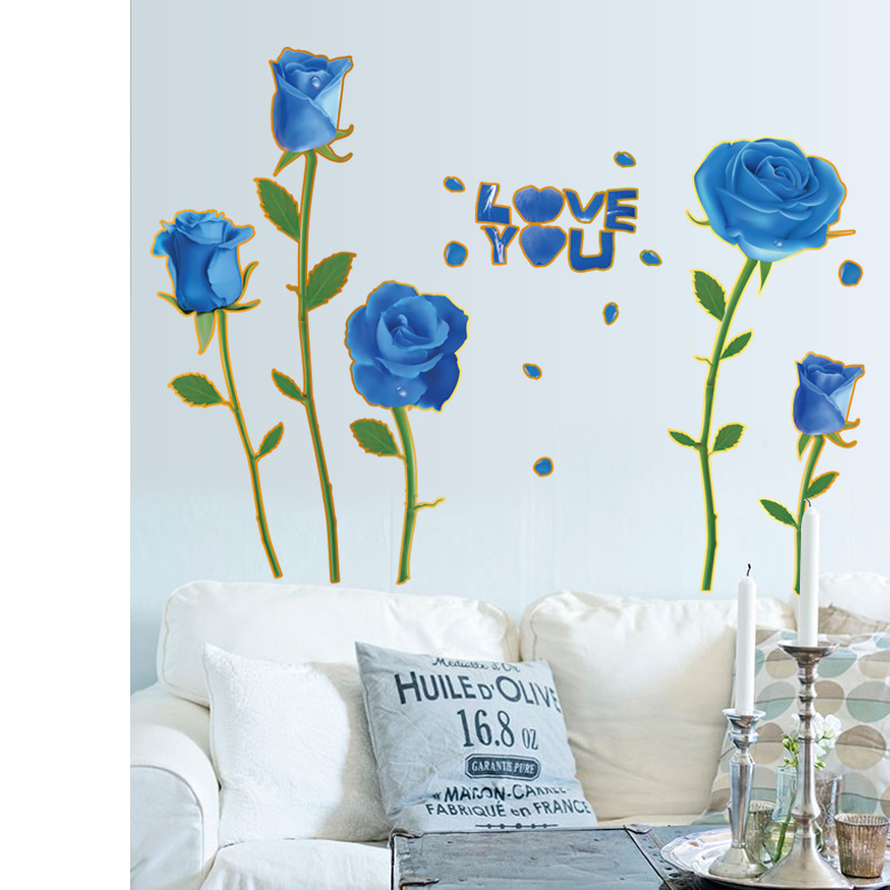 Blue Roses Wall Stickers Love Quote Posters Living Room Couple