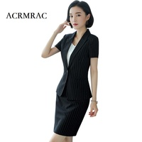 ACRMRAC Women New Summer suit Short suit Stripe suit Slim jacket skirt Business OL Formal Skirt Suits 9106