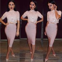2017 new bodycon elegant bodycon shiny lace short sleeve high neck sexy pink nude knee length 2 two piece set bandage dress