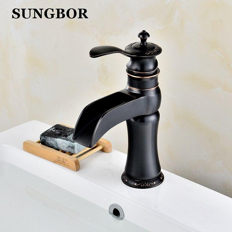 Elegant Black Basin Faucet Bathroom Brass Faucet Basin Sink Tap Mixer Hot Cold Faucet Deck Mounted Basin Faucet AL-99034 стоимость